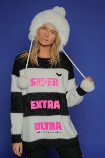 Fleece Round Neck Line Sweater Top ULTRA