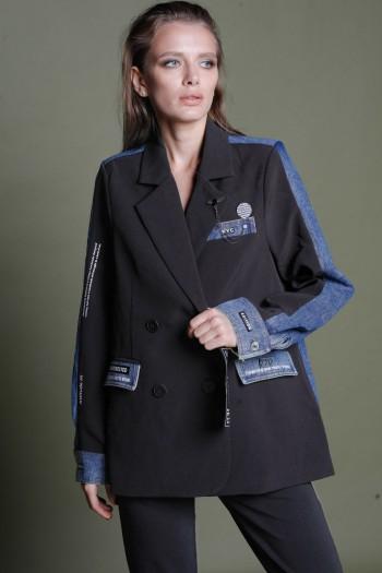 Black And Denim Unique Design Blazer Jacket CALL ME