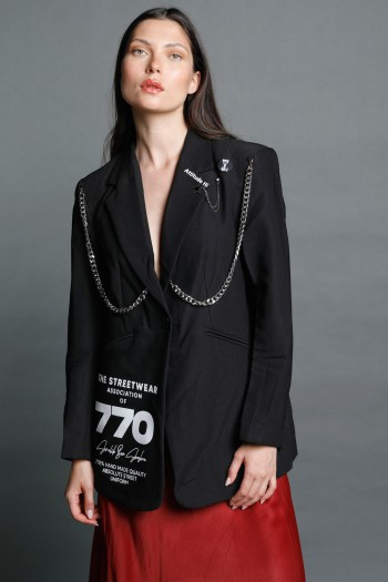 Black Chains Blazer Jacket STREETWEAR