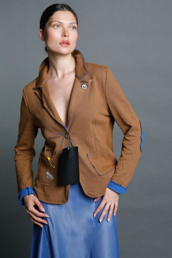 Brown and Blue Blazer Jacket COLORFUL