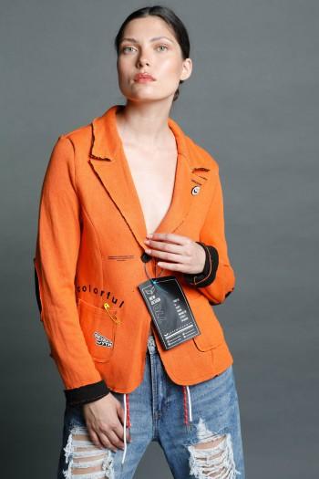 Orange And Black Blazer Jacket COLORFUL