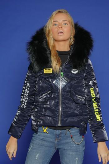 Dark Blue Jacket Faux Fur Collar  REGION US