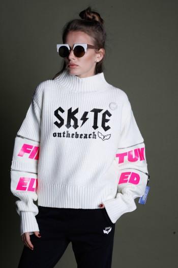 Ivory Knitted Hooded Jacket SKATE