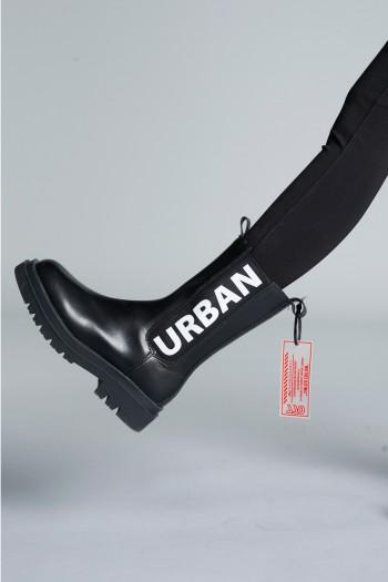 Black High Cut Faux Leather Boots URBAN