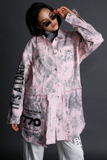 Unique Tie Dye Pink  And Gray Denim Long Jacket  STORY