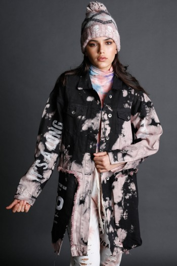 Unique Tie Dye Pink  And Black Denim Long Jacket  STORY