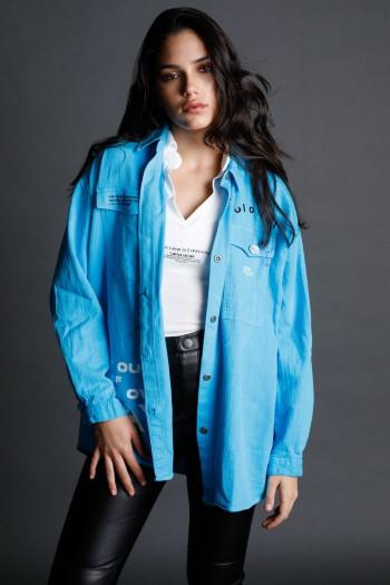 Light Blue Designed Long Sleeve  Buttoned  Shirt WAY