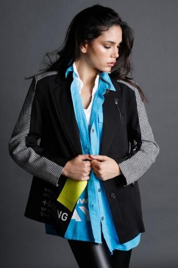 Black And White Blazer Jacket ADDING