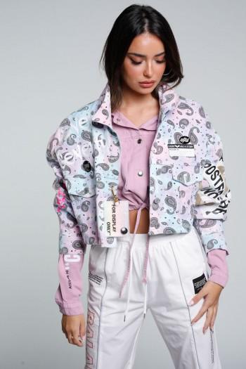 Pink And Light Blue Short Cut Denim Jacket  MAMI