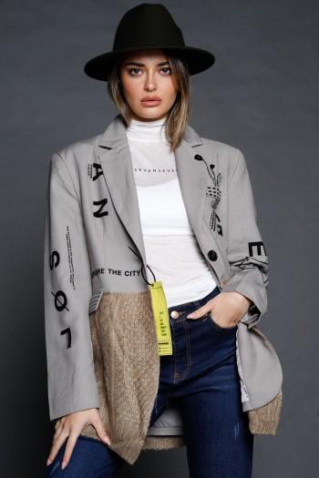 Brown Beige Unique Design Blazer Jacket THAT