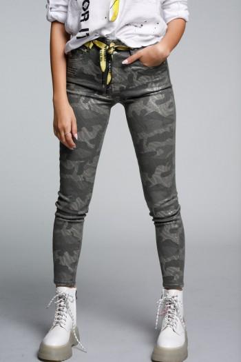 Camouflage Shiny Denim Pants  WARNING