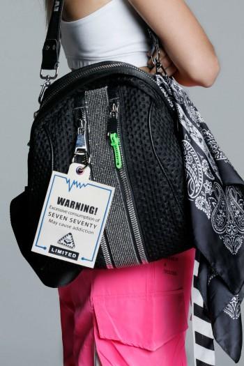 Black Handmade Unique Back Pack WARNING