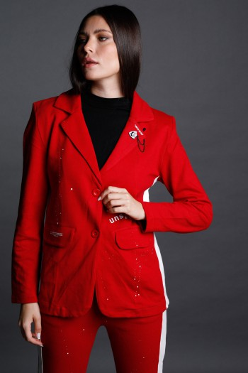 Red With White Stripe Pullover  Blazer Jacket  UNSPECIFIED