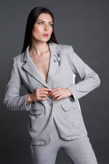 Light Gray With White Stripe Pullover  Blazer Jacket  UNSPECIFIED