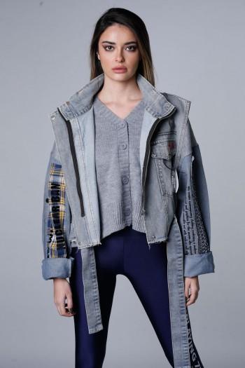 Unique Design Denim Jacket With Knit ATTITUDE