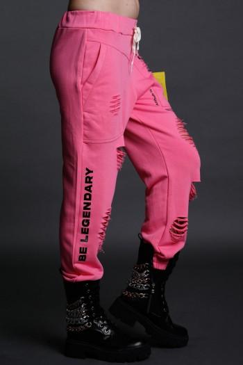 Pink Designed Destroyed Joggers Pants   FREINDS