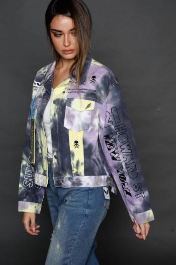 Purple and Yellow Tie Dye Denim Jacket  LOS ANGELES