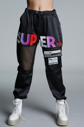 Black Satin and Netted Jogger Pants SUPER