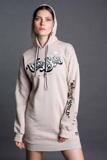 Beige Hooded Dress Tunic WAKE