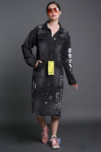 Washed Black  Denim Jacket Dress VISUAL