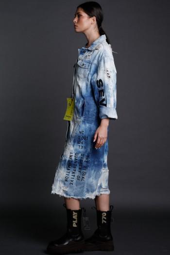 Blue Denim Tie Dye  Jacket Dress VISUAL