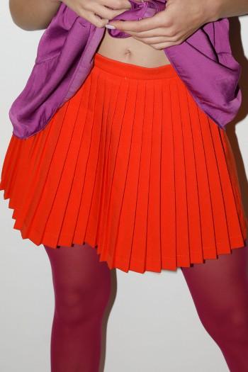 Orange Color Fine Fabric Mini Skirt Pants LOVE