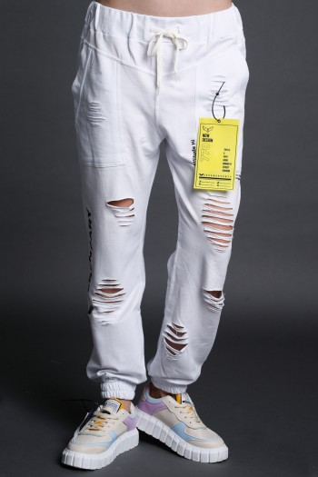 White Designed Destroyed Joggers Pants   FREINDS