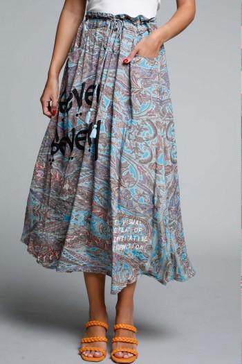 Light Blue Grey and Purple Boho Style Maxi Dress SEVENSEVENTY