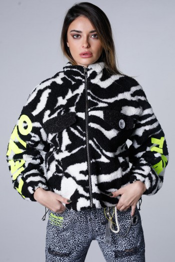 Black And White Fur Look  Coat  FINALLY