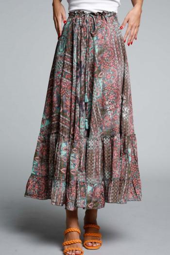 Pink and Turquoise Boho Style Maxi Dress SEVENSEVENTY