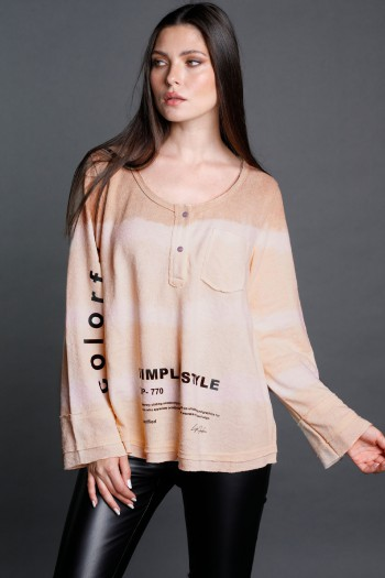 Long Sleeve Gray And White Tie Dye Knit Cotton Long Sleeves  Top  COLORFUL