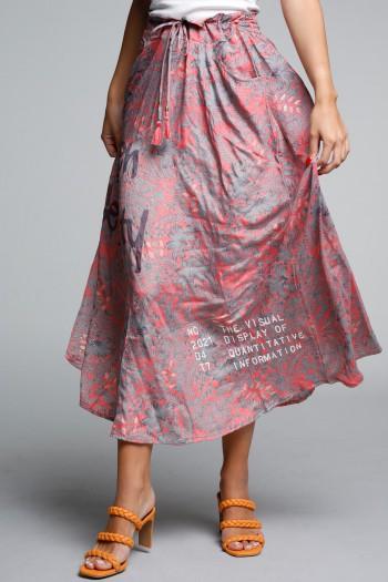 Peach and Grey-colors Boho Style Maxi Dress SEVENSEVENTY