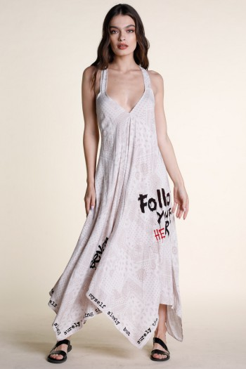 Beige And White Colors Bandana Summer Maxi Dress ART