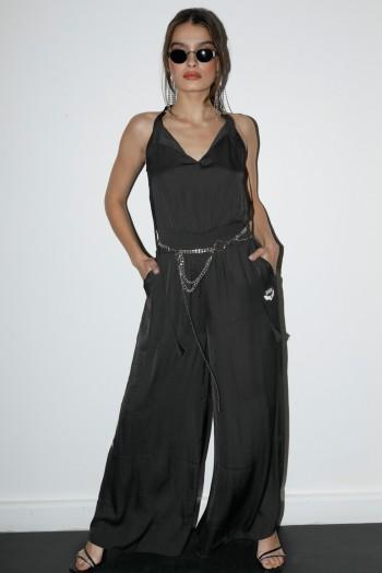 Black Color Sleeveless Long Silk Overall ADDICTED