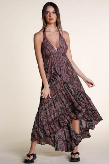 Burgundy and Black Colors Floral Summer Maxi Dress SEVEN
