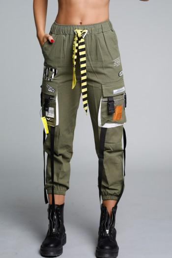 Designed Olive Green Cargo Style Pants SEVENTY