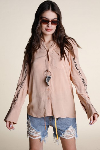 Beige Long Sleeve Buttoned Up Top MUST
