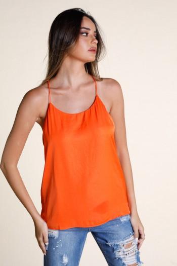 Orange Satin Designed Tank LOVE