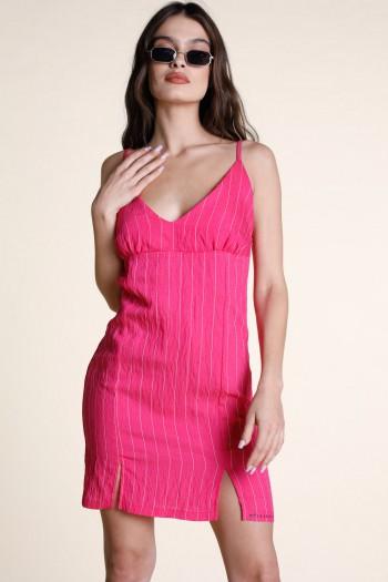 Pink Strips Mini Evening Dress COMFY