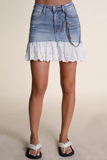 Boho Style Denim And White Lace Mini Skirt EDITION