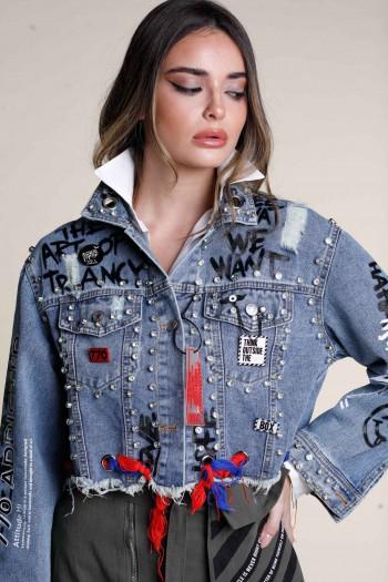 Unique Design Denim Jacket With Studs WE WANT
