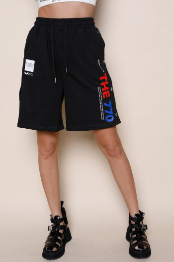 Black Pullover Bermuda Pants THE 770