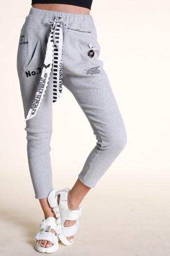 Designed Grey Cotton Rib Jogger Pants NO 7