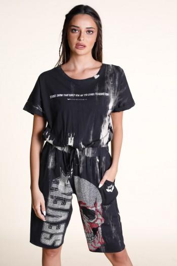 Black And White Tie Dye Short Sleeve Overall SKULL