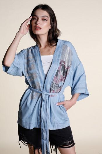 Denim look Kimono Opened Top SKULL