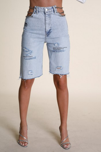 Blue Deni Destroyed Bermuda Pants CREATIVITY