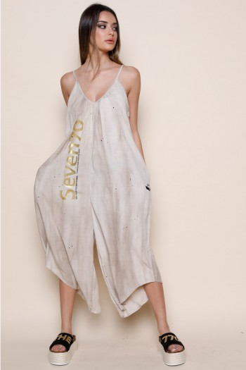 Beige Color Sleeveless Long Overall SEVEN 770