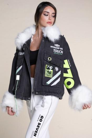 Black Denim Jacket With White Faux Fur DON'T