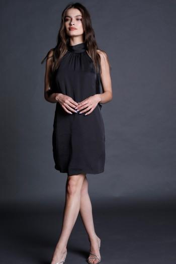 Black Satin Mini Evening Dress CHIC