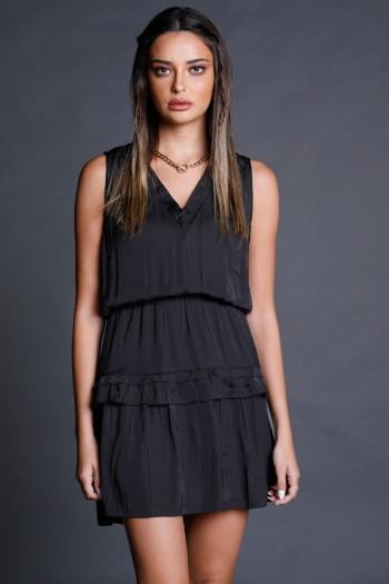 Black Satin Layers Mini Evening Dress LOVE